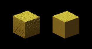 El oro nanoporoso (izquierda), frente al normal (derecha). Fuente: CSIC.