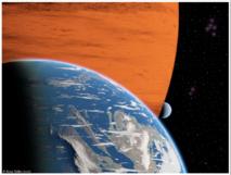 Recreación artística de dos lunas extrasolares orbitando un gigante gaseoso. Imagen: R. Heller. Fuente: AIP.