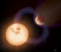 Recreación de un 'Júpiter caliente' similar a WTS-1b, pero con una órbita más rápida y cercana a su estrella. Imagen: NASA, ESA, A. Schaller. Fuente: divulgaUNED.