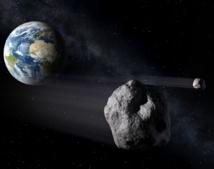 Ilustración recreando el paso del asteroide sobre la Tierra. Imagen: ESA - P.Carril. Fuente: ESA/SINC.