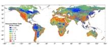 Imagen de la profundidad de la capa freática. Las zonas con las aguas subterráneas muy cerca de la superficie (azul oscuro) se corresponden con regiones de grandes extensiones de humedales. Fuente: USC.