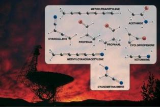 Telescopio Green Bank y algunas moléculas descubiertas. Imagen: Bill Saxton. Fuente: NRAO/AUI/NSF.