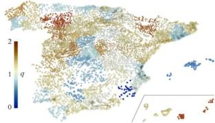 El valor 'q' recoge las características de la evolución de la población por provincias. Imagen: A. Hernando et al. Fuente: EPFL.