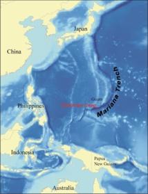 La fosa de las Marianas en un mapa. Imagen: wallace. Fuente: Wikimedia Commons.