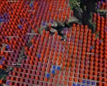 """Las barras muestran como de fácil es encontrar a alguien en una zona de Nueva York. El resultado es """"contraituitivo"""", según los investigadores: es más fácil esconderse en Manhattan que en Queens. Fuente: UC3M."""