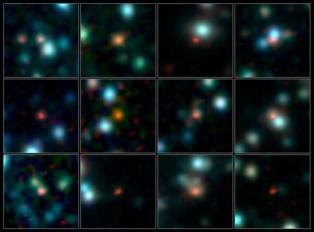 En rojo, los estallidos de formación estelar, correspondientes a cada galaxia. Fuente: ESO.