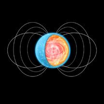 Imagen artística del interior de un magnetar, donde se generan las líneas del campo magnético que luego emergen hacia el exterior. Imagen: NASA. Fuente: ICE.