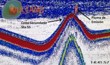 Ecograma de la sonda EK60 sobre uno de los conos secundarios. Se observa un artefacto que se corresponde con una pluma de emisión de material procedente del subsuelo. Fuente: IEO.
