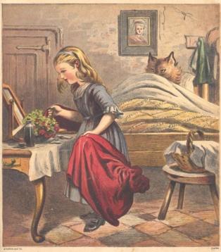 Ilustración inglesa de 1868, para una edición neerlandesa de Caperucita Roja. Imagen: BJZ, Kronheim & Co. Fuente: Wikipedia.