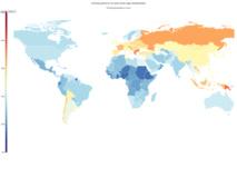 Mapa de la prevalencia del tabaco en 2012. Los colores cálidos señalan una prevalencia mayor. Fuente: Health Metrics and Evaluation.