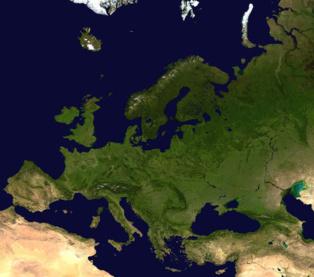 Imagen satelital de Europa. Fuente: NASA/Wikipedia.