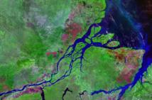 Desembocadura del Amazonas a vista de satélite. Fuente: NASA.