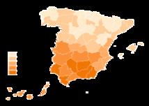 Mapa del desempleo por provincias españolas. EPA Tercer trimestre 2012 (Datos INEM). Imagen: NACLE2. Fuente: Wikipedia.
