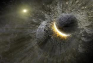 Visión artística del choque entre Theia y la Tierra, del que pudo surgir la Luna. Fuente: NASA.