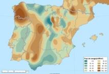 Mapa de flujo de calor en superficie de la península ibérica. Fuente: UVa-www.lacasig.com
