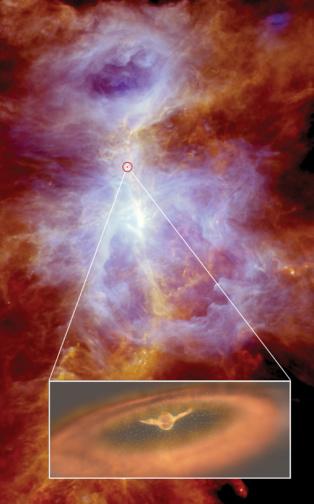 Fuertes vientos en el entorno de una protoestrella en Orión. Fuente: ESA.