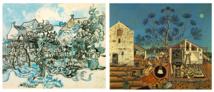El software vinculó 'Viejo viñedo con mujer campesina' de Van Gogh con 'La Masía' de Miró que, aunque de estilo muy diferente, comparten paisajes y simbolismo. Fuente: Rutgers
