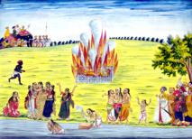 Pintura (ca. 1800) de una ceremonia Sati de la India, en la cual una viuda se quema en una pira con el cadáver de su marido. La práctica está abolida legalmente pero se sigue practicando de forma clandestina. Autor: Desconocido. Fuente: Wikipedia.