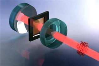 Una nube de átomos ultrafríos (rojo) es utilizada para enfriar las vibraciones de una membrana (marrón, dentro del marco negro). La interacción es generada por un haz de láser y un resonador óptico (espejos azules en sandwich). Imagen: Tobias Kampschulte. Fuente: Universidad de Basilea.