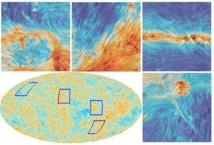 Mapa de temperaturas de la radiación fósil (abajo a la izquierda), y primeros planos que muestran la polarización de la luz en la frecuencia de 353 GHz (los colores corresponden a la intensidad de la emisión térmica del polvo galáctico). Fuente: ESA/Colaboración Planck.
