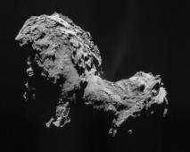 Cometa 67P/Churyumov–Gerasimenko, en que se posó hace unos días la sonda Rosetta. Fuente: ESA.