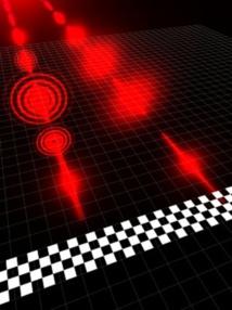 Dos fotones salen a la vez, pero uno llega con 20 longitudes de onda de ventaja sobre el otro. Fuente: Universidad de Glasgow/Universidad Heriot-Watt.