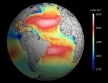 Alcalinidad (capacidad para neutralizar ácidos) total de los océanos, vista desde el espacio. Imagen: Ifremer/ESA/CNES. Fuente: Eurekalert!