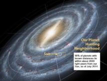 Ubicación del Sol y de nuestro Sistema Solar dentro de la Vía Láctea. Imagen: NASA. Fuente: Wikipedia.