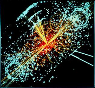 Una traza hipotética del bosón de Higgs en una colisión simulada de protón-protón. Imagen: Lucas Taylor. Fuente: CERN.