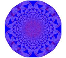 Fractal pila de arena estable, que comenzó con un millón de granos de arena en un cuadrado. Los coloreados en azul tienen tres granos, los púrpuras dos, los rojos uno y los blancos cero. Imagen: Levine/Pedgen/Smart. Fuente: Universidad de Cornell.