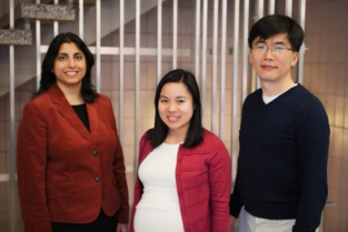 De izquierda a derecha, los investigadores Jaya Yod, Thuy Ngo y Taekjip Ha. Fuente: Universidad de Illinois.