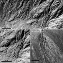 Rastros de los posiblos flujos masivos de agua en Marte. Fuente: NASA/JPL/UofA for HiRISE.