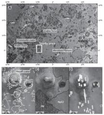 Mapa geológico de Arabia Terra, y detalles. Imagen: Pondrelli et al. Fuente: GSA Bulletin.