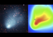 """Imagen comparativa de los datos (imagen de las múltiples galaxias y el gas emisor de rayos X, izquierda) con el modelo de gas caliente (derecha). La forma de """"cometa"""" de los datos de rayos X está bien reproducida por el modelo. Fuente: UPV/EHU."""