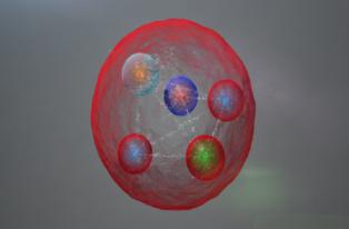 Una de las posibles disposiciones de los cinco quarks en el nuevo estado ligado observado por el experimento LHCb. Imagen: CERN/LHCb Collaboration. Fuente: Sinc.