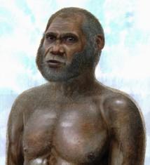 Reconstrucción artística de los humanos de la Cueva del ciervo rojo. Imagen: Peter Schouten. Fuente: UNSW.