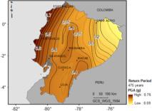 Mapa de peligrosidad sísmica del Ecuador en términos de PGA obtenidos en la tesis doctoral  referenciada para períodos de retorno de 475 años, equivalente al movimiento esperado con 10 % de probabilidad de excedencia en 50 años.