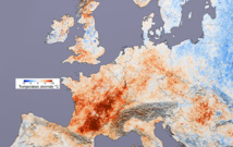 Diferencia de temperaturas respecto a la normal durante la ola de calor europea de 2003. Imagen: Reto Stockli/Robert Simmon. Fuente: Modis/NASA.