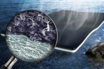 Ilustración de la bioespuma que limpia el agua de bacterias. Fuente: WUSTL.