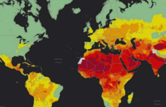 Niveles altos (rojo) y bajos (verde) de contaminación atmosférica. Fuente: OMS.