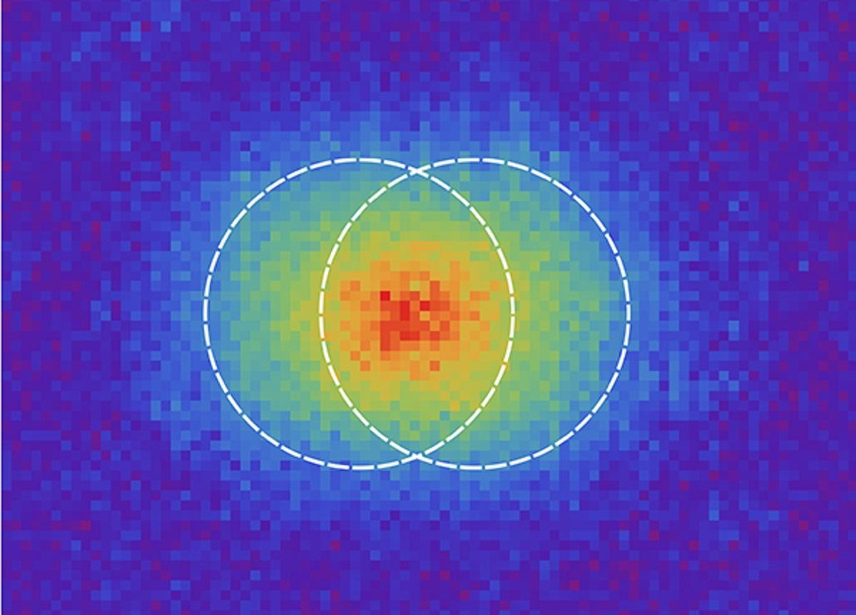 La resolución es la capacidad de un sistema óptico para diferenciar dos puntos muy próximos. En la imagen se muestra el caso de dos puntos resueltos según el criterio de Rayleigh. Para separaciones menores no se podría concluir si se trata de dos puntos o de uno solo.  Imagen: Martin Paúr – Universidad Palacký. Fuente: UCM.