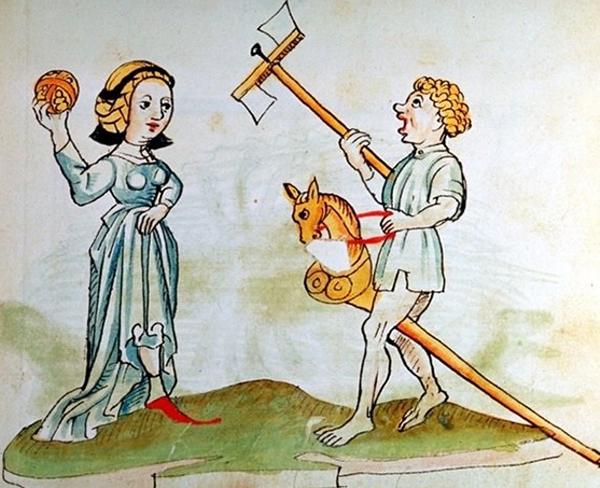 Ilustración medieval de niños jugando con un caballito y una pelota. Imagen: ÖNB-Biblioteca Nacional de Austria 12820, fol. 182r, c. 1484-1486. Fuente: UCM.