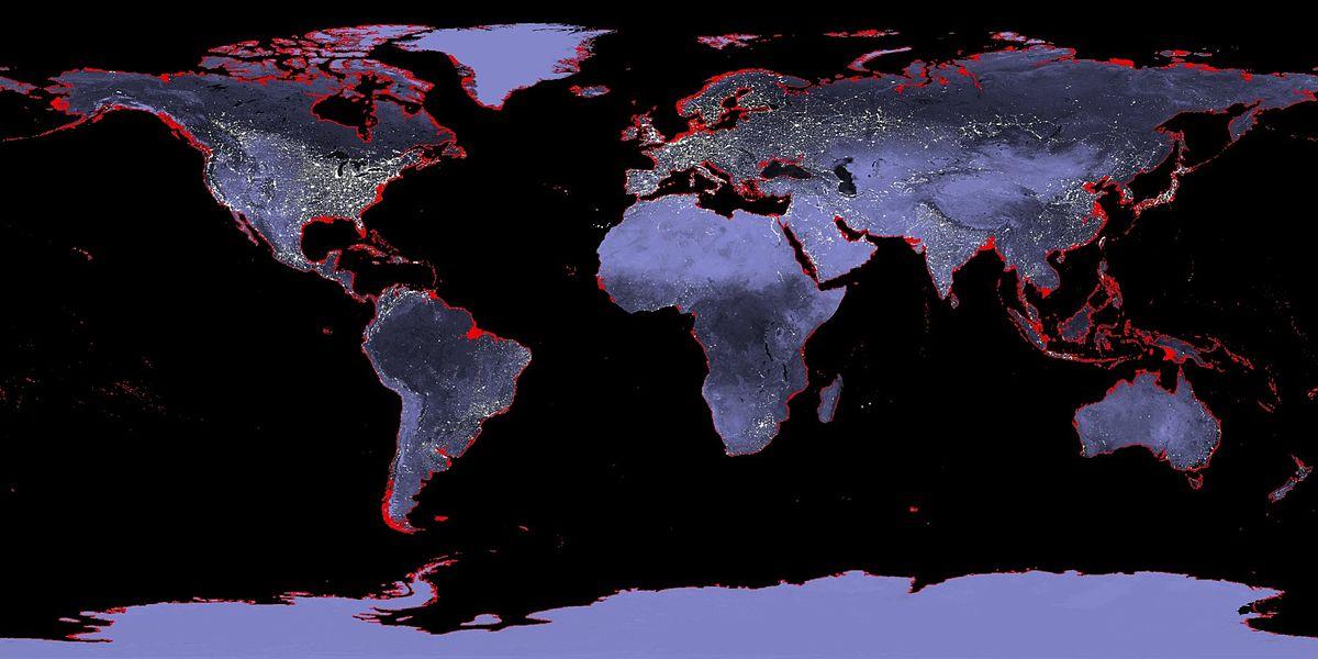 Mapa de la Tierra con una subida de 6 metros del nivel del mar representada en rojo. Imagen: NASA