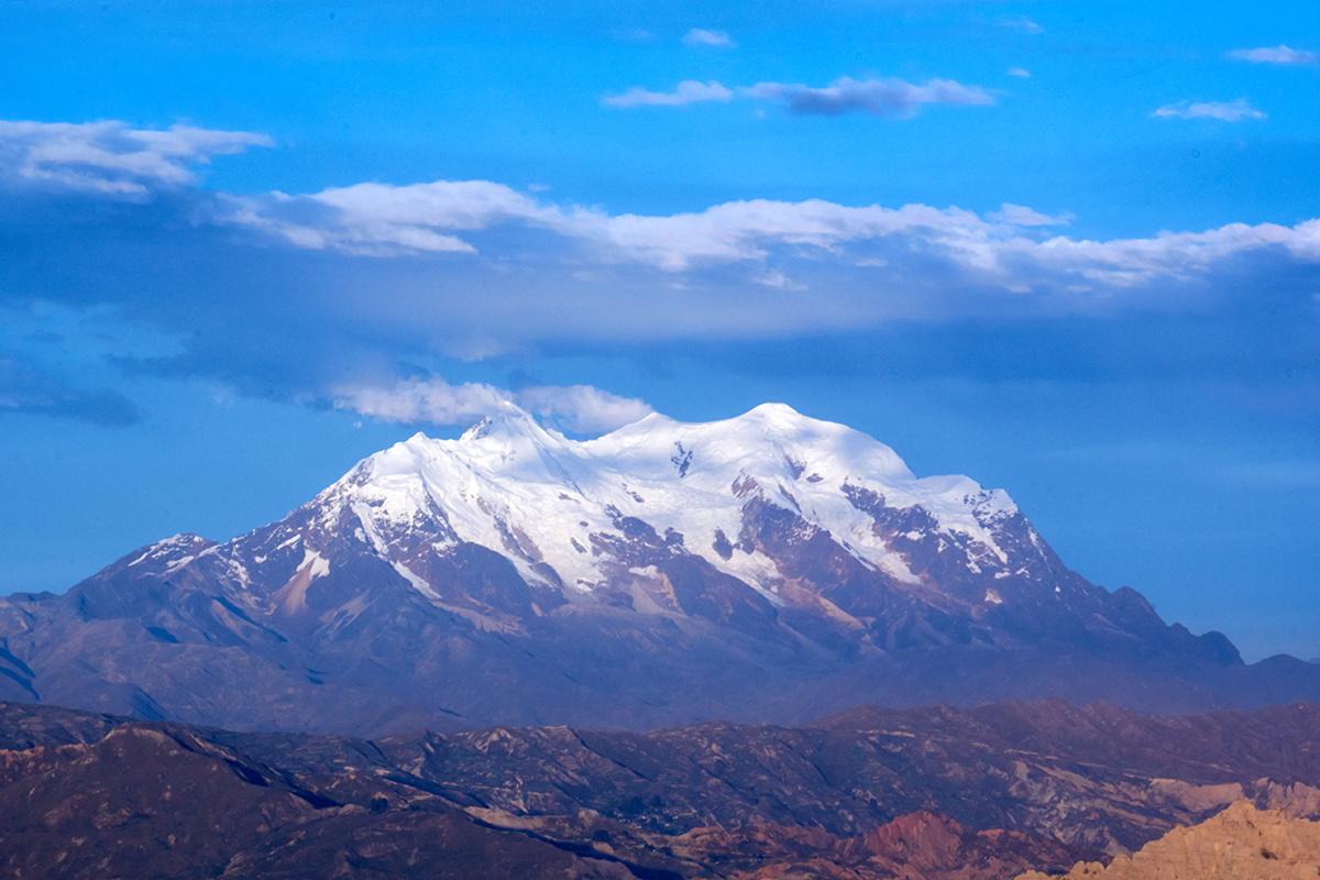 Montaña del Illimani, La Paz, Bolivia, vista desde la cuidad de El Alto. Foto: Hernan Payrumani