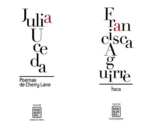 Portadas de los números 3 y 4 de la Colección Genialogías. Se presentarán el próximo 19 de abril en la Fundación Centro de Poesía José Hierro de Getafe.