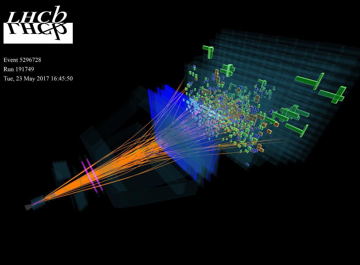 Una de las primeras colisiones protón-protón registradas por LHCB el 23 de mayo de 2017. Imagen: LHCb/CERN