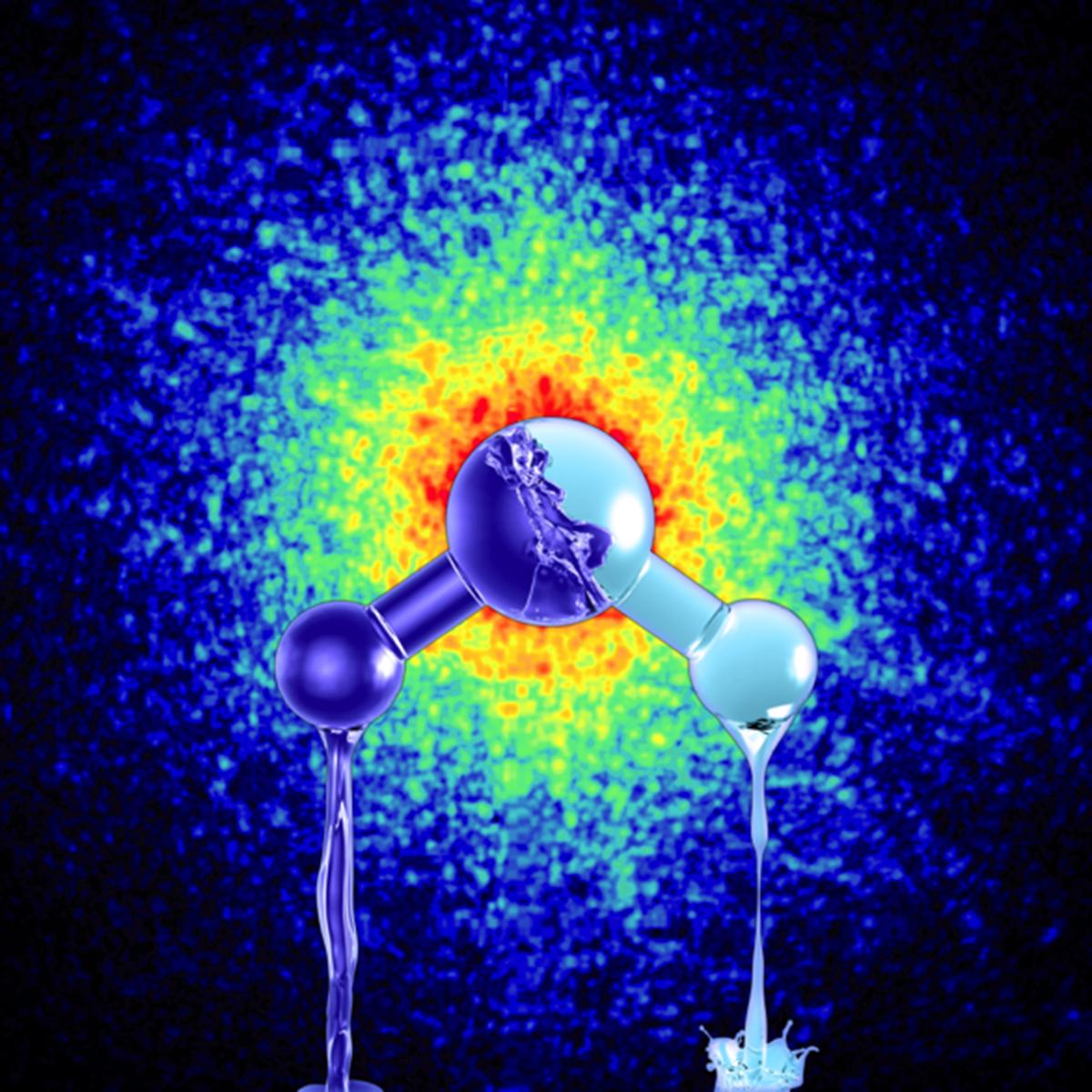 Reproducción artística de las dos formas ultraviscosas del agua líquida con diferentes densidades. Credit: Mattias Karlén
