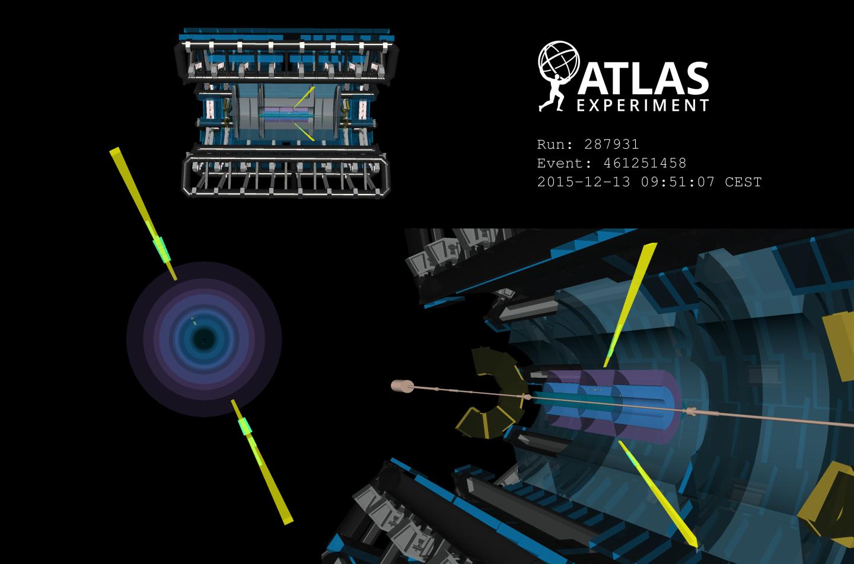 Acontecimiento candidato a la diffusion de la luz-luz observada en el detector ATLAS. Imagen: ATLAS/CERN)