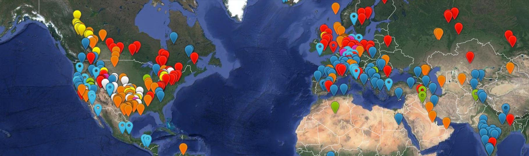 Mapa parcial de terremotos en el mundo. Fuente: HiQuake