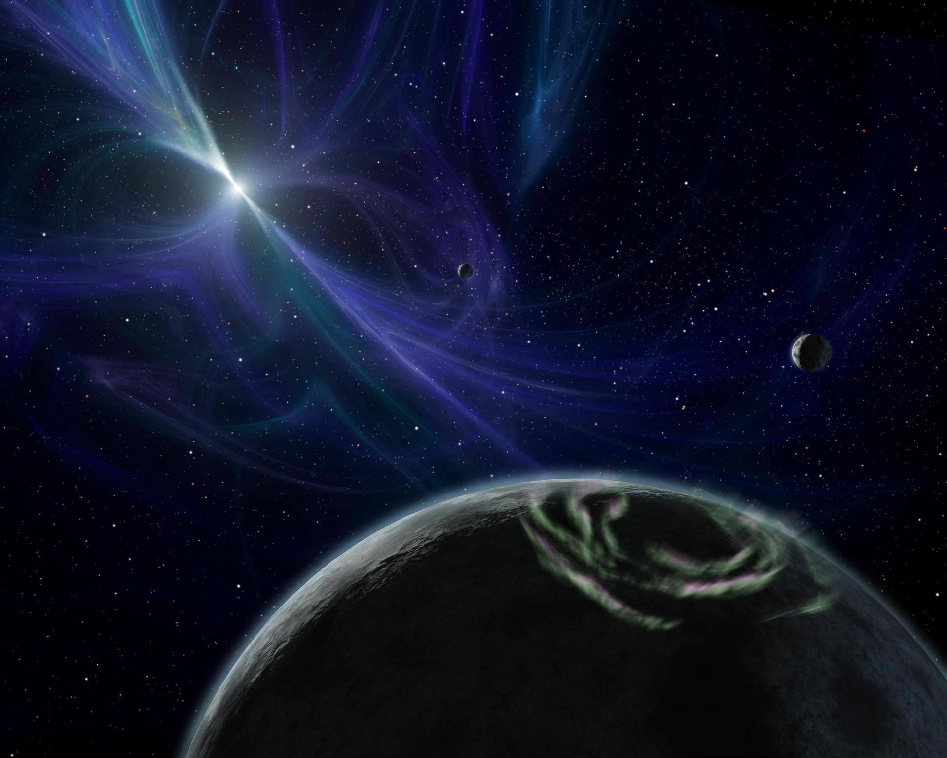 Representación artística del Sistema planetario descubierto por Aleksander Wolszczan en 1992. NASA/JPL-Caltech